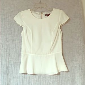 Back zipped white plum top
